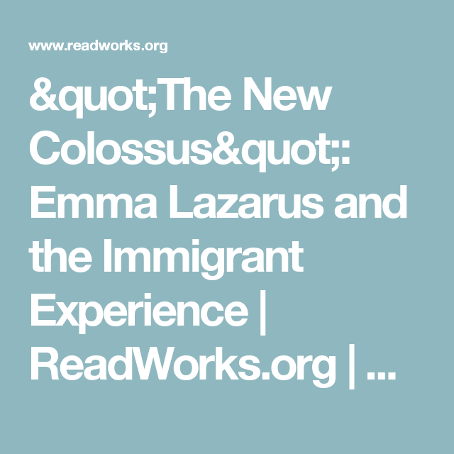 """The New Colossus"": Emma Lazarus and the Immigrant Experience 