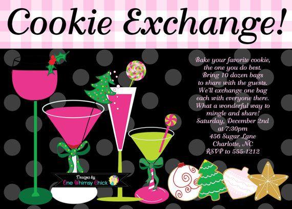 Cookie Exchange Invitation - Personalized Custom Christmas Cookie Exchange Invitation