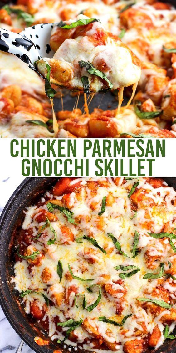 Chicken Parmesan Gnocchi Skillet #chickenparmesan
