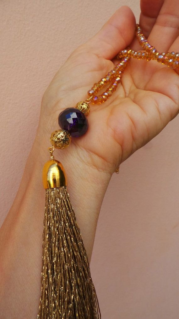 Luxury boho tassel necklace. Long beaded by AllAboutEveCreations