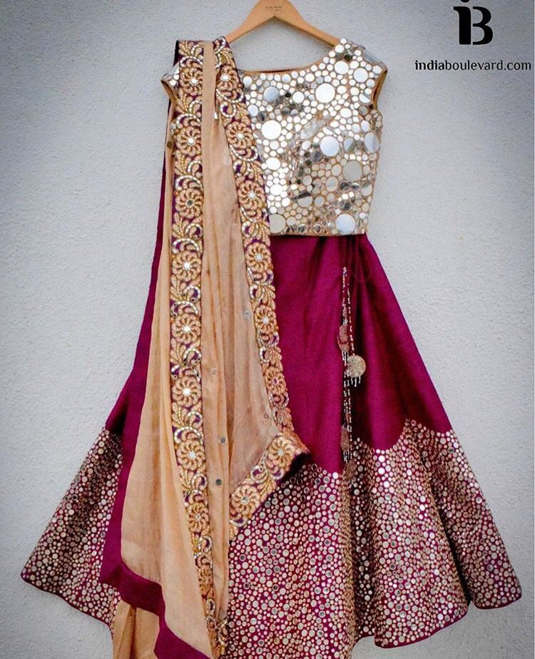 75e55723d Pretty magenta coloured lehenga teamed with a glitter top and ...