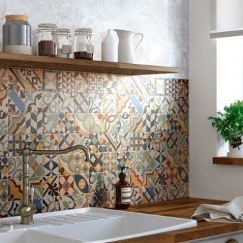 Mosa que sol et mur antan mix couleur 7 8 x 7 8 cm id es - Credence adhesive cuisine leroy merlin ...