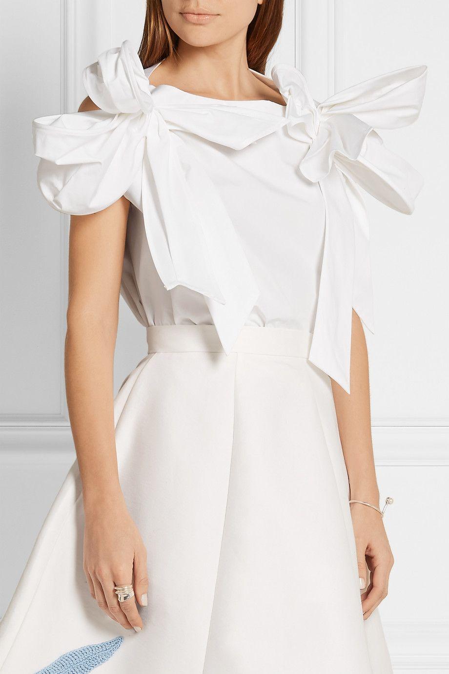 Bow-embellished cotton-poplin top. White cotton-poplin - Slips on - 100% cotton (Vika Gazinskaya)