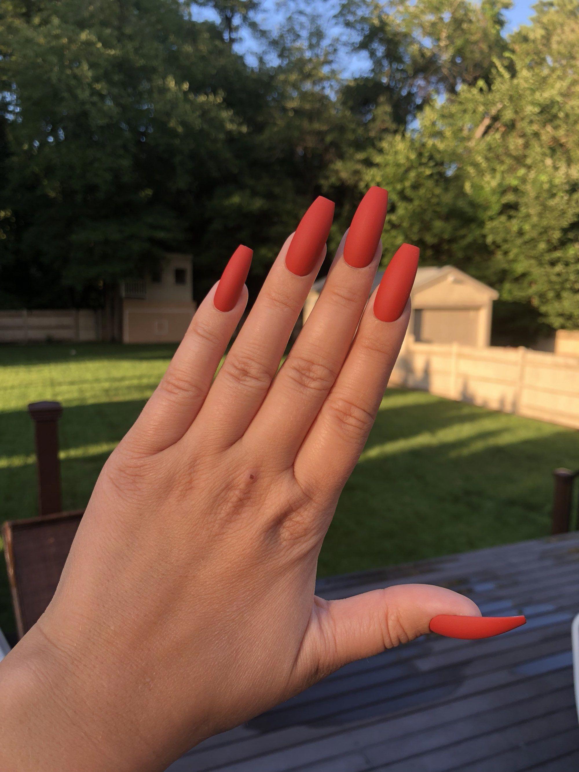 Burnt Orange Nails False Nails Press On Nails Fake Etsy In 2020 Orange Acrylic Nails Glue On Nails Orange Nails