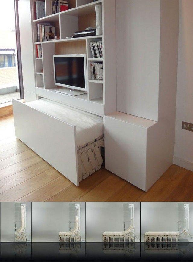 Schrankbett funktionales Möbeldesign Schlafzimmer Wandregal ...