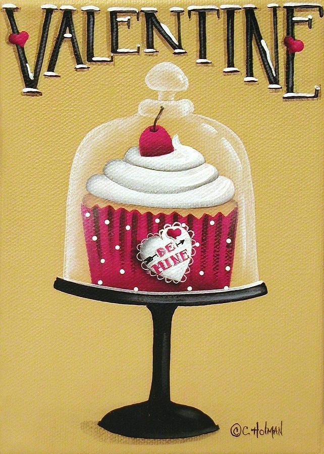 Cute cupcake canvas paint idea for wall decor. Valentine\'s. Love ...