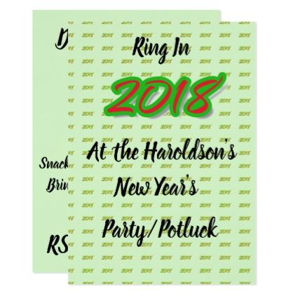 2018 new years partypotluck invitation invitations personalize custom special event invitation idea style