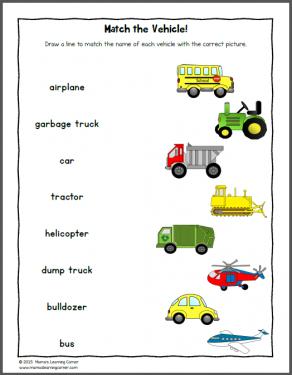 Transportation Worksheets for Kindergarten and First Grade ...