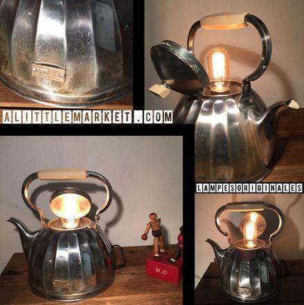 """Voici une des créations de lampesoriginales.com La bouilloire inox  """"dans son jus""""  Je l 'ai montée en lampe déco loft très tendance avec une ampoule led style Edison a filame - 20084628"""