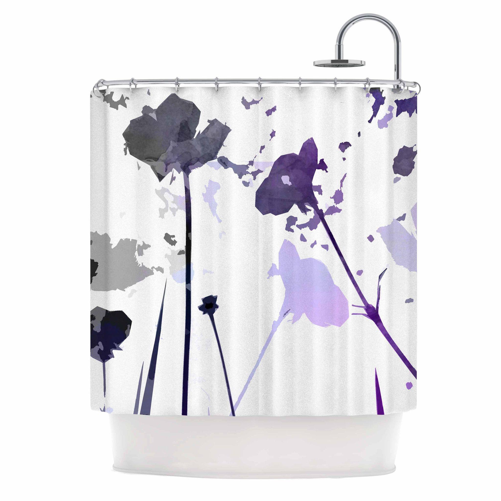 "Alison Coxon ""Poppies Indigo"" Purple Black Shower Curtain"