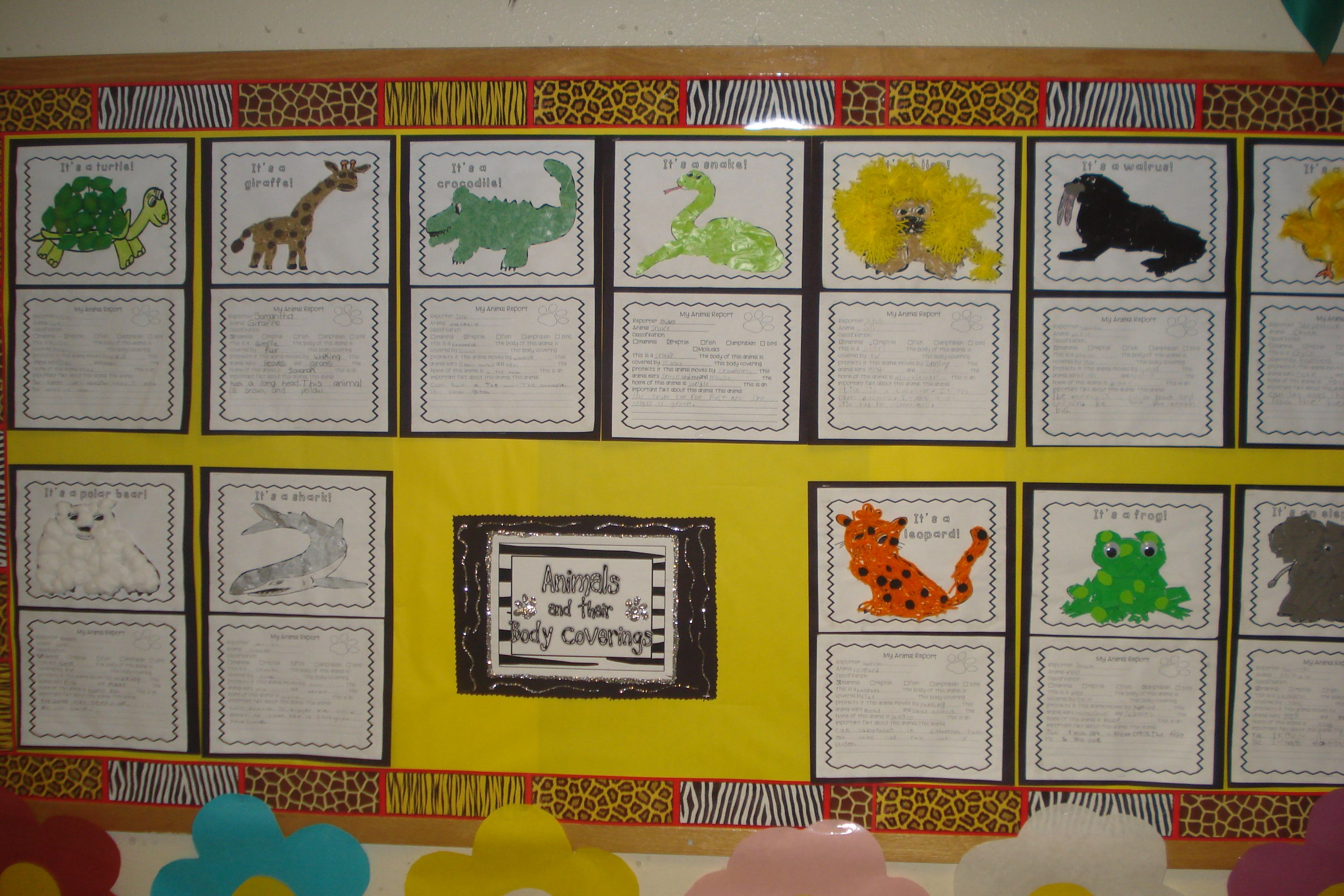 Bulletin Board about Body Coverings of Animals Created by Hildelisa Diaz  thebilingualcafe.com   Kindergarten worksheets [ 2048 x 3072 Pixel ]