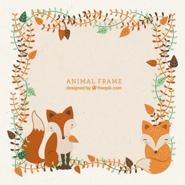 Frame Decorativo Com Mão Desenhada Adoráveis Raposas E Folhas