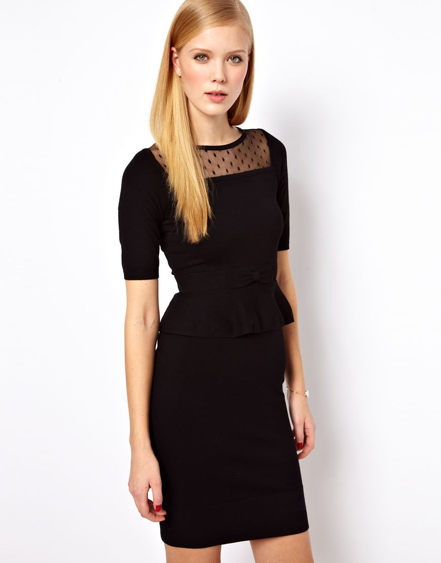 black dress. sheer neckline. | funeral outfit, funeral dress