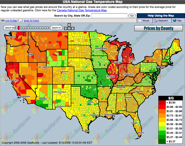 How Hurricane Ike Impacted The US Economy Gas Prices Map - Gas prices across the us map