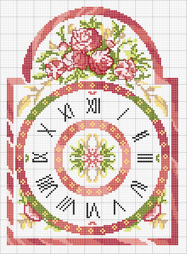 Schema punto croce orologio 2 reloj motivi punto croce for Orologio punto croce schemi gratis