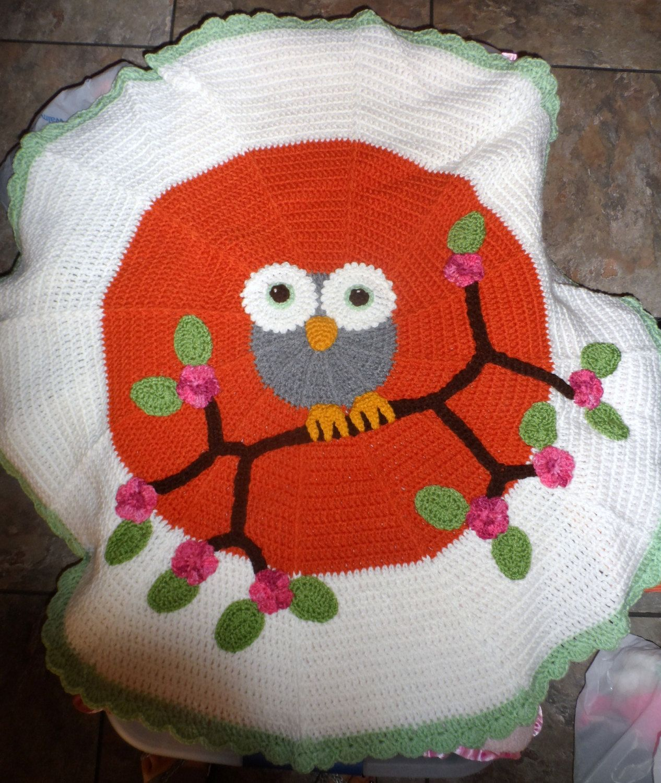 "Crochet Owl Blanket Orange 38"" Round Crocheted Owls Nursery by CraftyGalsCreations on Etsy"