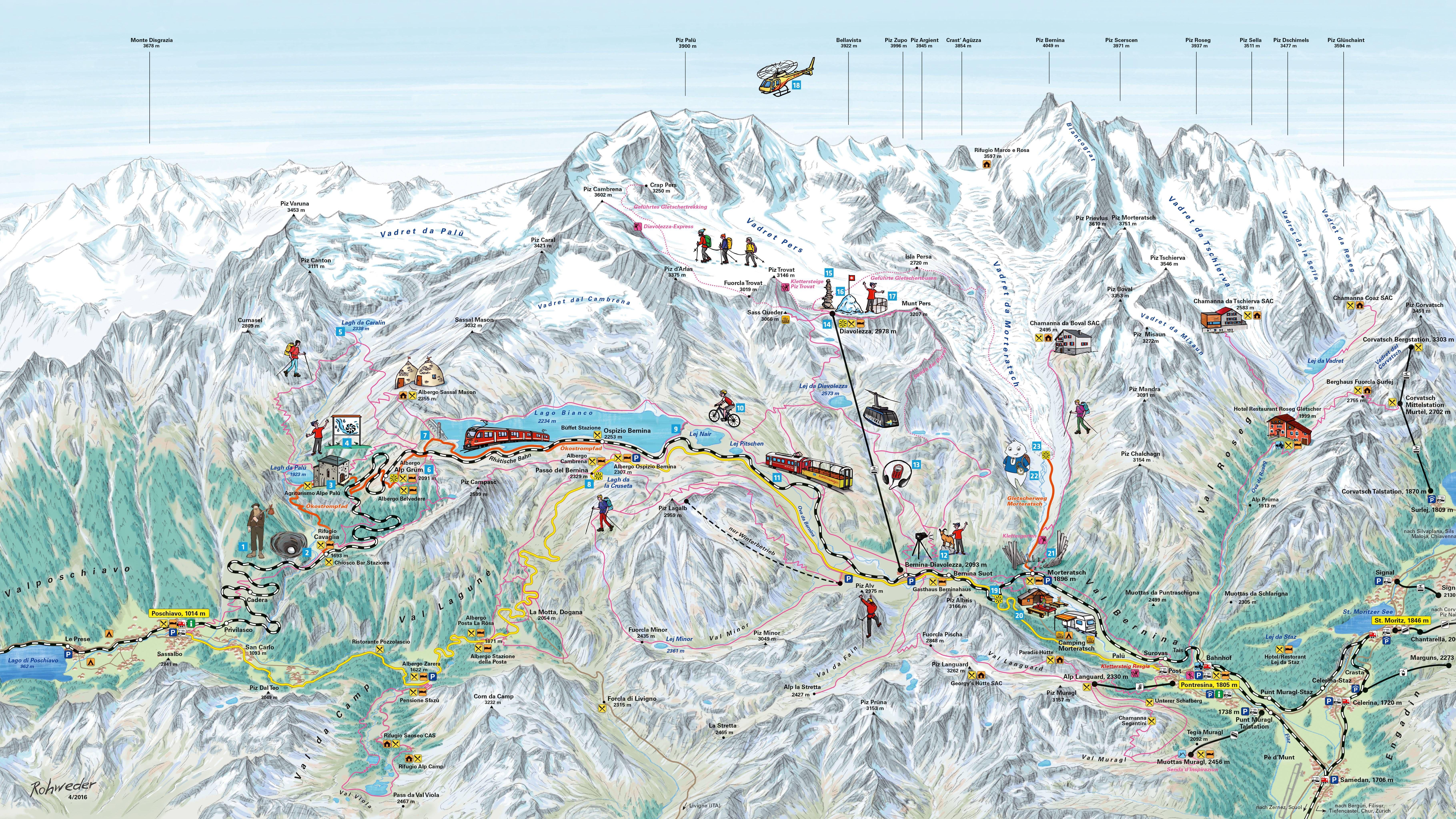 Bernina Glaciers Tourist Map Erlebnis Engadin Natur