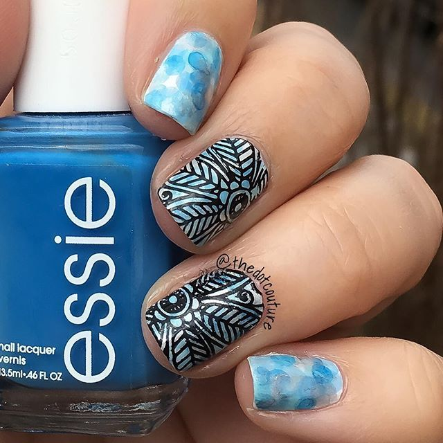 I love how Nimbus nails look as a base for other nail art! Here I stamped over them. For a tutorial on Nimbus nails, check out my blog post over at @cutegirlshairstyles Lifestyle (clickable link in my bio!)