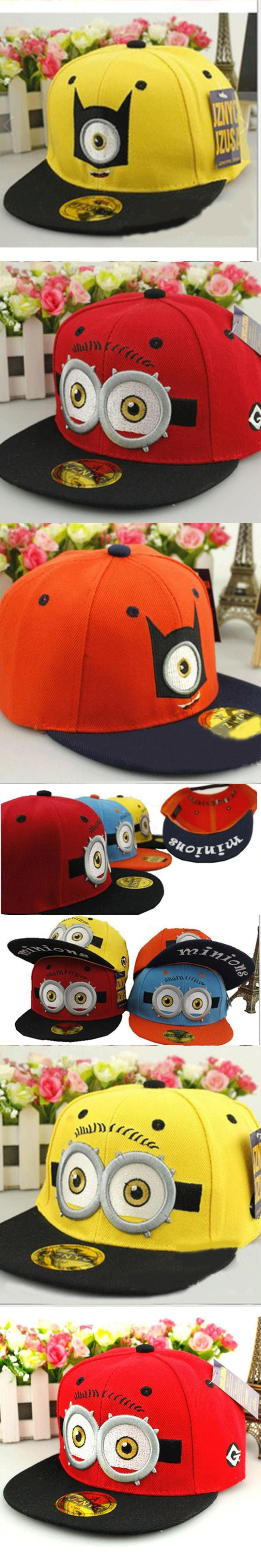 3D Cartoon Pattern Baseball Cap Small Yellow Man Minion Hip Hop Snapback Caps  Boy Girls Unisex b9406d5cc23e