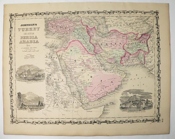 Antique middle east map persian gulf map afghanistan turkey iran antique middle east map persian gulf map afghanistan turkey iran persia map iraq 1862 johnson map oman yemen saudi arabia gift under 100 availab gumiabroncs Gallery