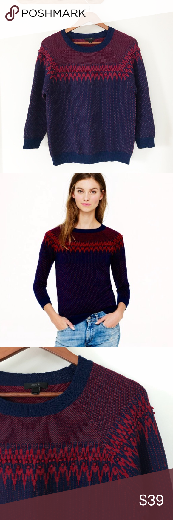 J. Crew Merino Fair Isle Wool Navy and Red Sweater Excellent ...