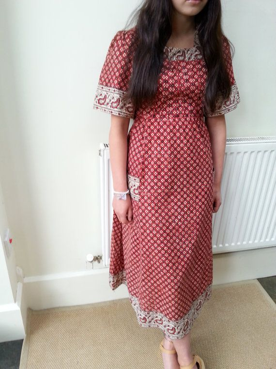 70s Indian Cotton Dress Gypsy India Festival by Beyondthevintage