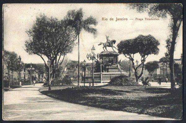 Rio de Janeiro - Praça Tiradentes - Cartão Postal antigo original, editor não mencionado, circulado, 1905.