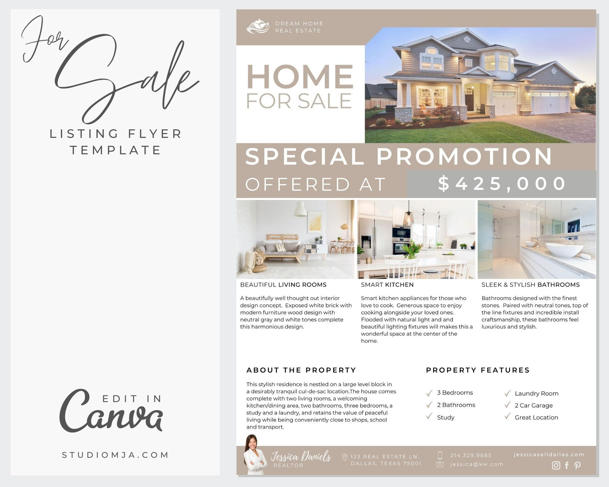 Real Estate Flyer Template Canva Template Real Estate Etsy Real Estate Flyer Template Real Estate Flyer Real Estate Marketing Flyers