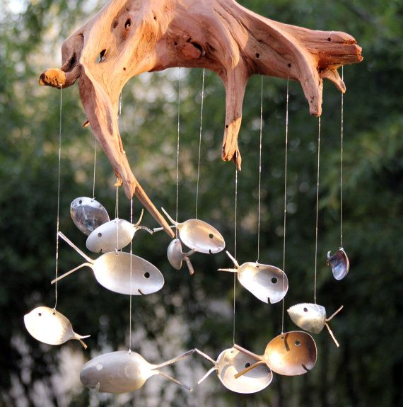 XXL Spoon Fish & Drift wood wind chimes, Number 5, item of the month SALE via Etsy