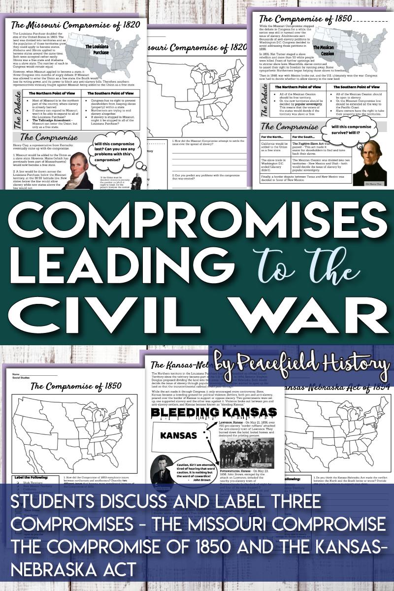 Missouri Compromise Compromise of 1850 Kansas-Nebraska Act Map ...