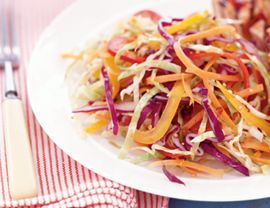 Rainbow slaw - A great summer recipe that didn't take too long to prep, although cutting up the veggies is a little labor intensive. Very tasty dressing.