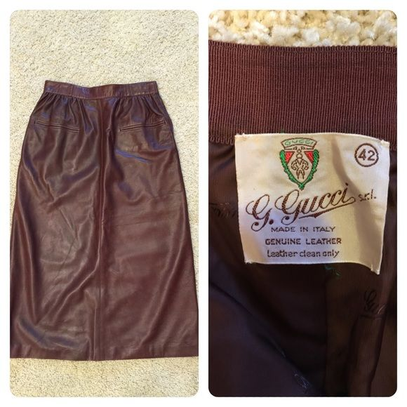 """Gucci leather skirt Gorgeous brown leather skirt from Gucci. Classic cut and beautiful leather. Sadly, zipper broken (about 8"""" zipper) so heavily discounted. Gucci size 42 equals US 8. Gucci Skirts"""