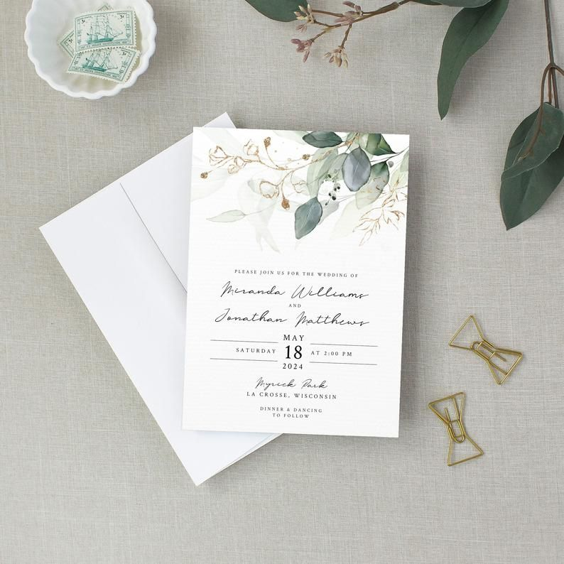 Eucalyptus Wedding Invitation Set Template Invitation Only Etsy In 2020 Wedding Invitation Sets Wedding Invitations Cheap Wedding Invitations