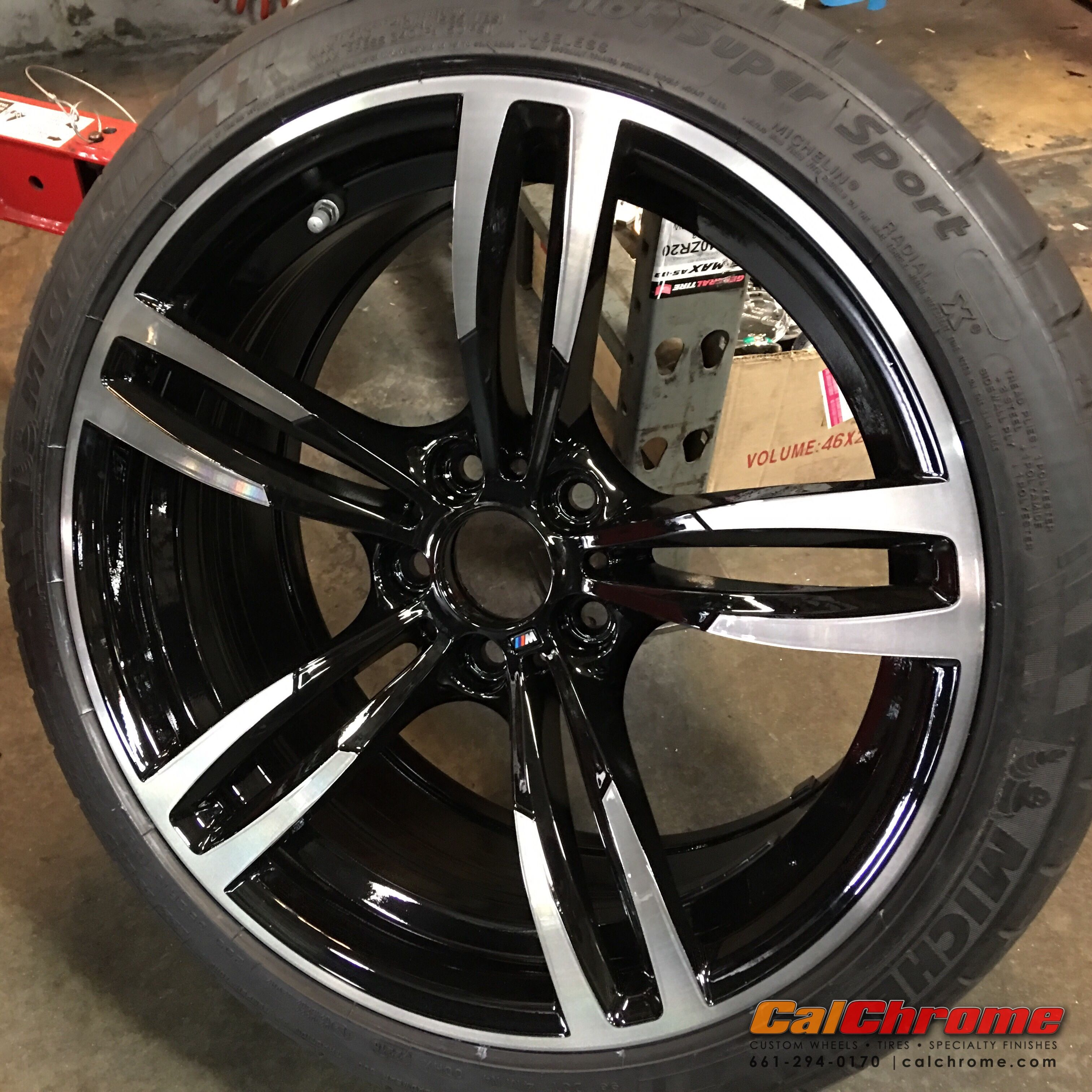 Bmw 4 Series 19 Style 437 Wheel Sprayed Gloss Black Machine Faced The Spokes And Color Matched The Factory Tinted Clear Bmw 4 Series Gloss Black Wheel
