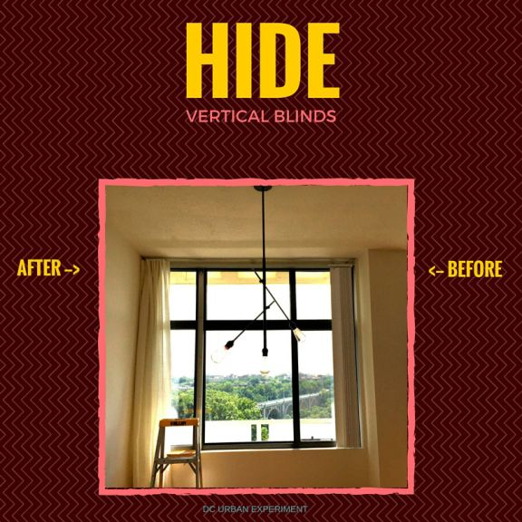 Hide Vertical Blinds With Velcro No Curtain Rods Hardware Needed Dc Urban Experiment