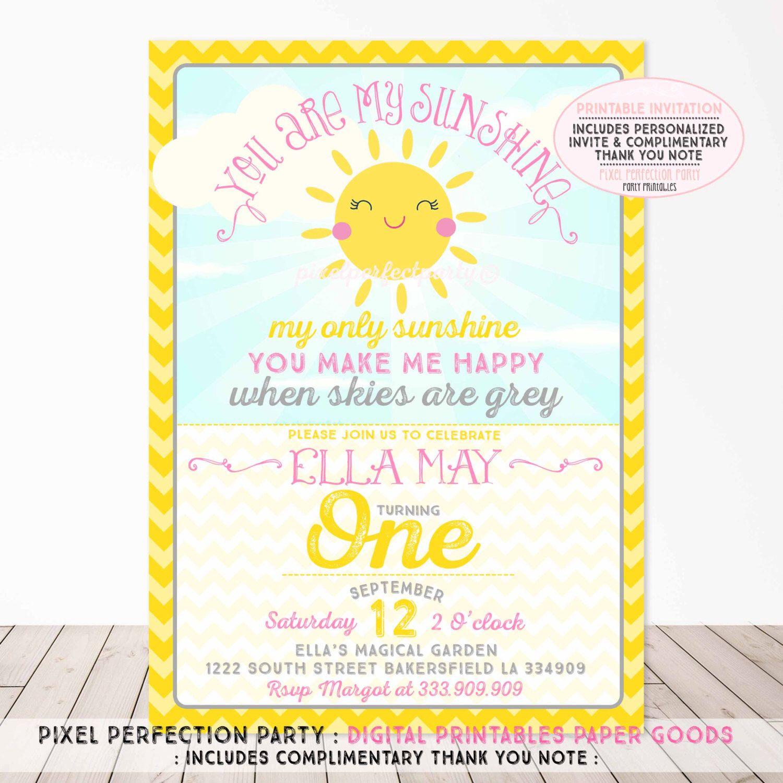 You Are My Sunshine Birthday Invitation Sunshine Invitation A