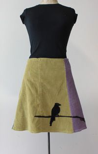 I got an amazing cord skirt like this. She makes them from used pants. So cute!