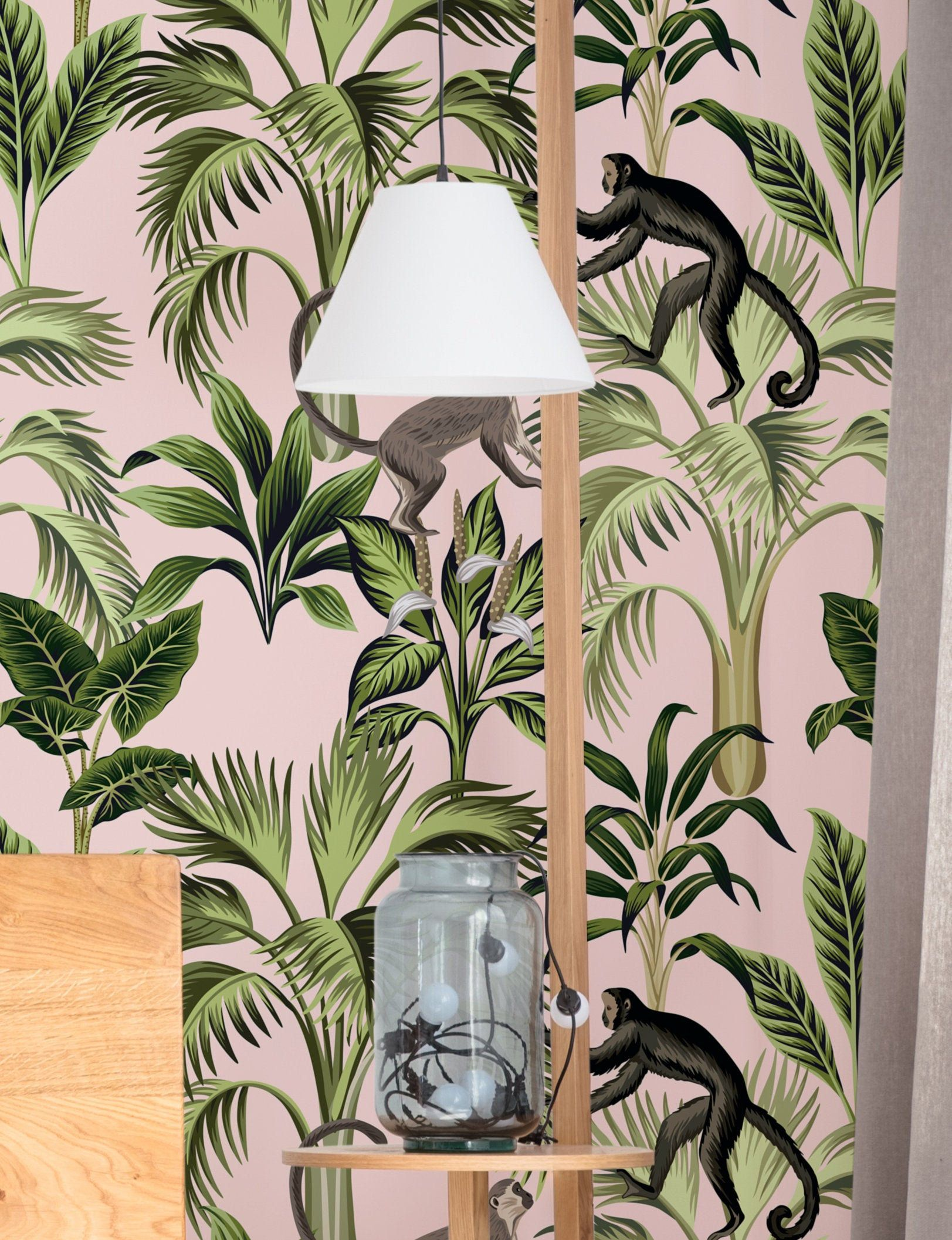Pink Jungle Wallpaper Peel And Stick Vintage Wall Mural Etsy Pink Jungle Wallpaper Jungle Wallpaper Removable Wallpaper