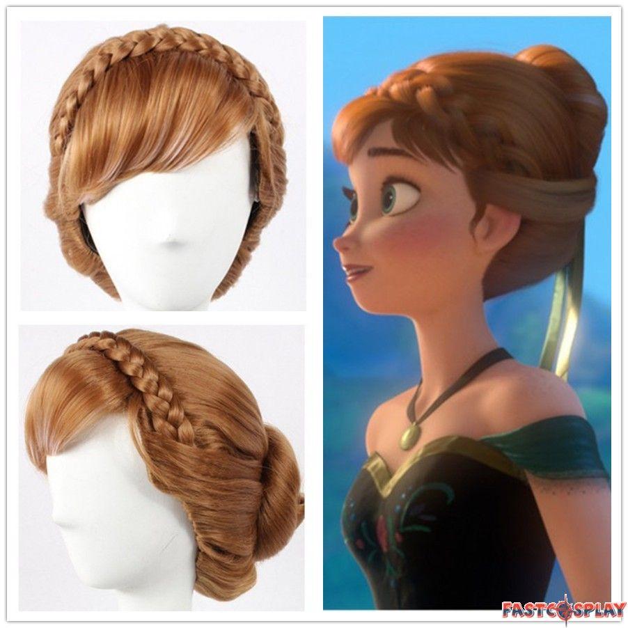 Disney Frozen Princess Anna Cosplay Updo Wigs 35bf96cb44ce