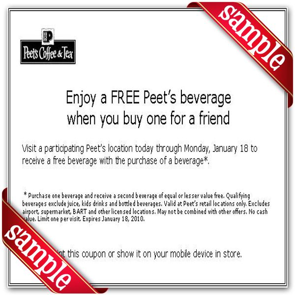 picture about Peet Coffee Printable Coupon known as Peets Espresso Tea Printable Coupon December 2016