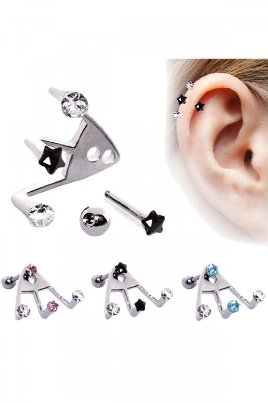 Earlobe piercing bump  L Surgical Steel Trident Triple Star u Round CZ Cartilage Earring
