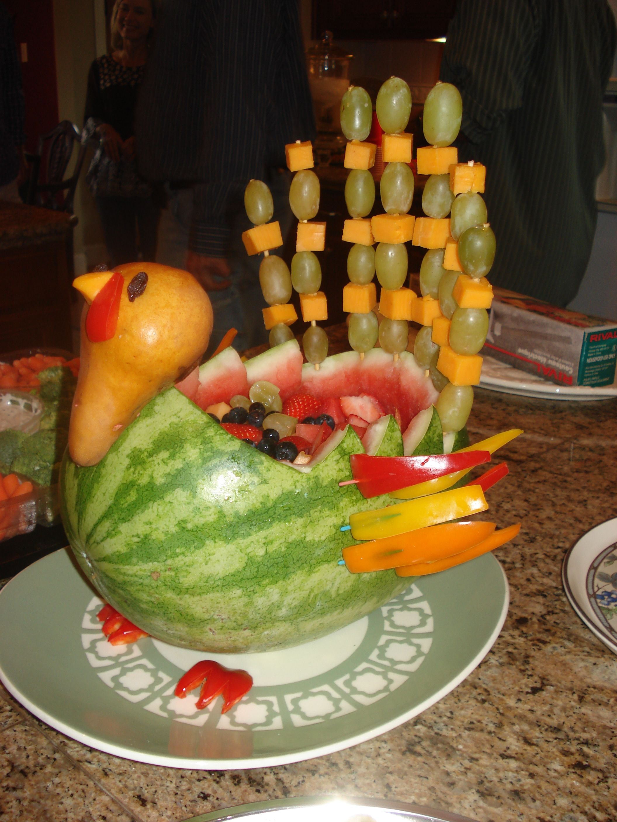 Hereus my fruit salad i made for thanksgiving itus a cross