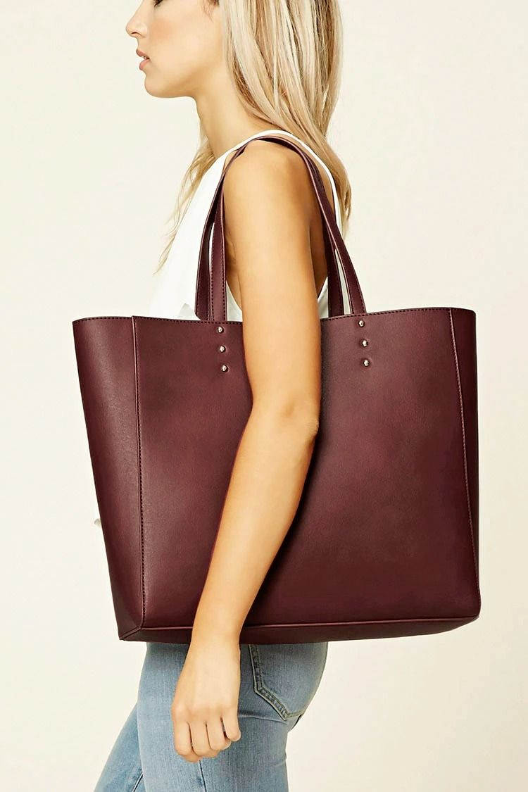 A Laptop Friendly Unstructured Faux Leather Tote Bag Featuring Magnetic Snap Closure Dual Shoulder Straps And A Faux Sue Red Tote Bag Outfit Accessories Bags
