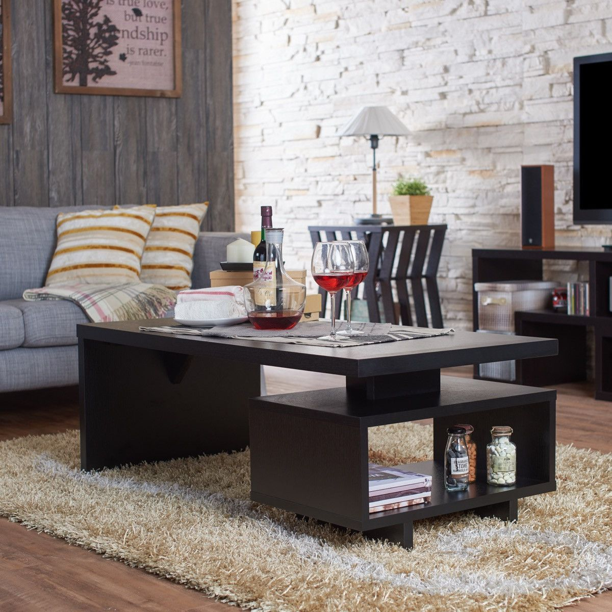 Furniture of america hemsworth storage coffee table black products