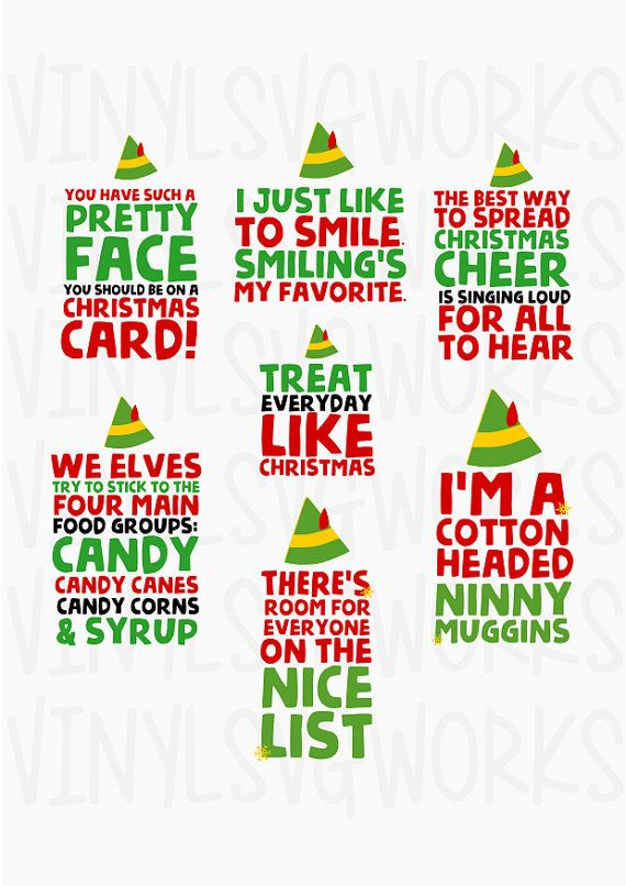 Elf Movie Quotes Svg File Pack Elf Christmas Party Elf