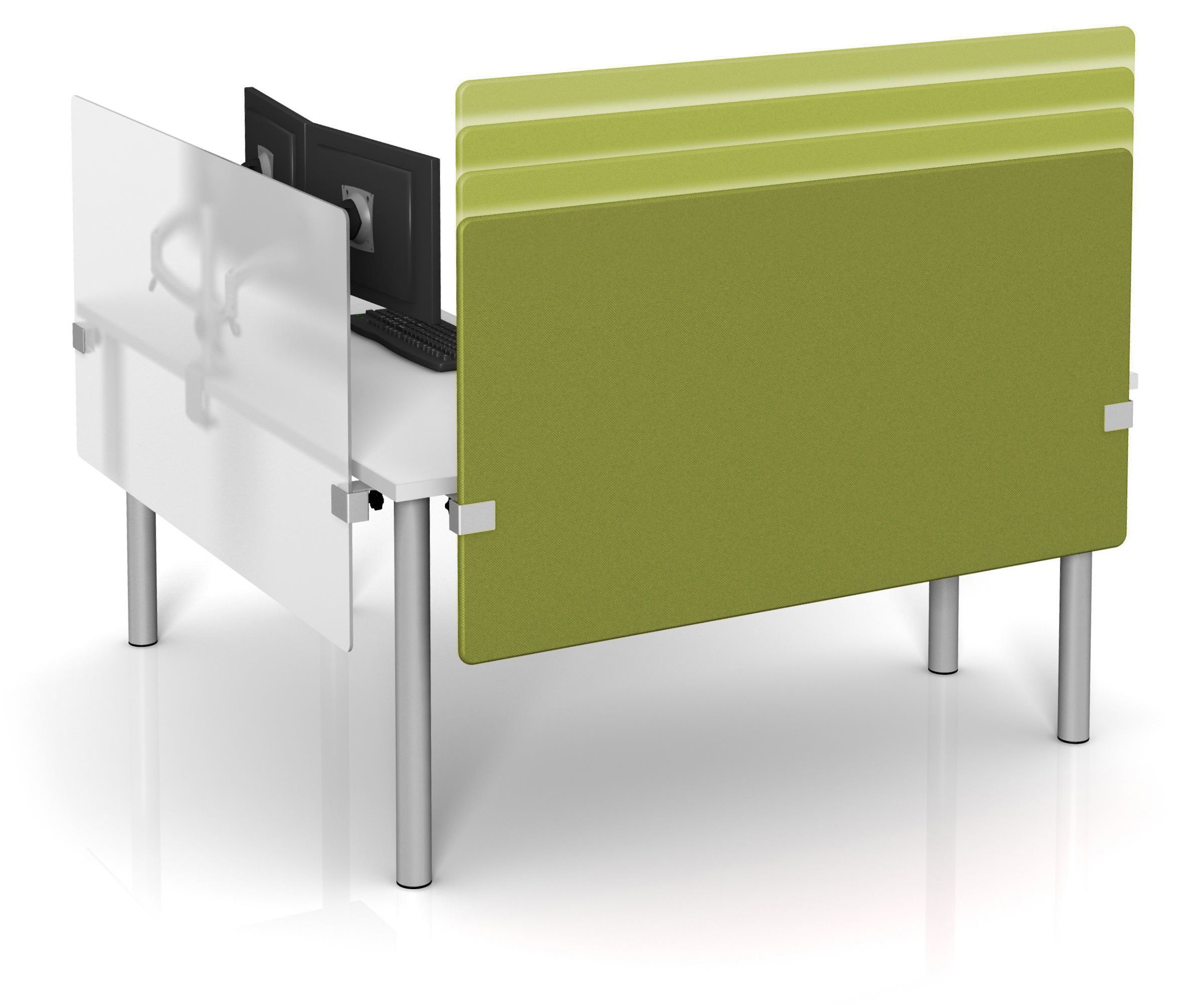 height adjustable desk dividers in fabric and frosted acrylic by  - height adjustable desk dividers in fabric and frosted acrylic by merge works