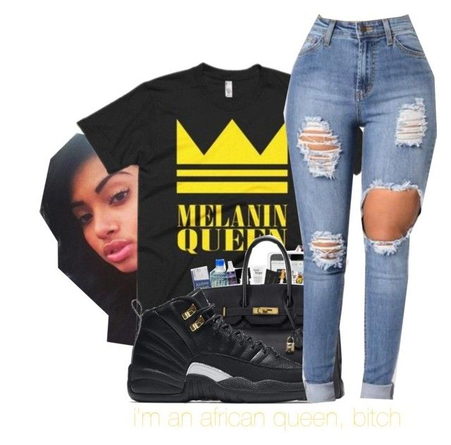 """im a queen"" by itzemmiebruh ❤ liked on Polyvore featuring NIKE"