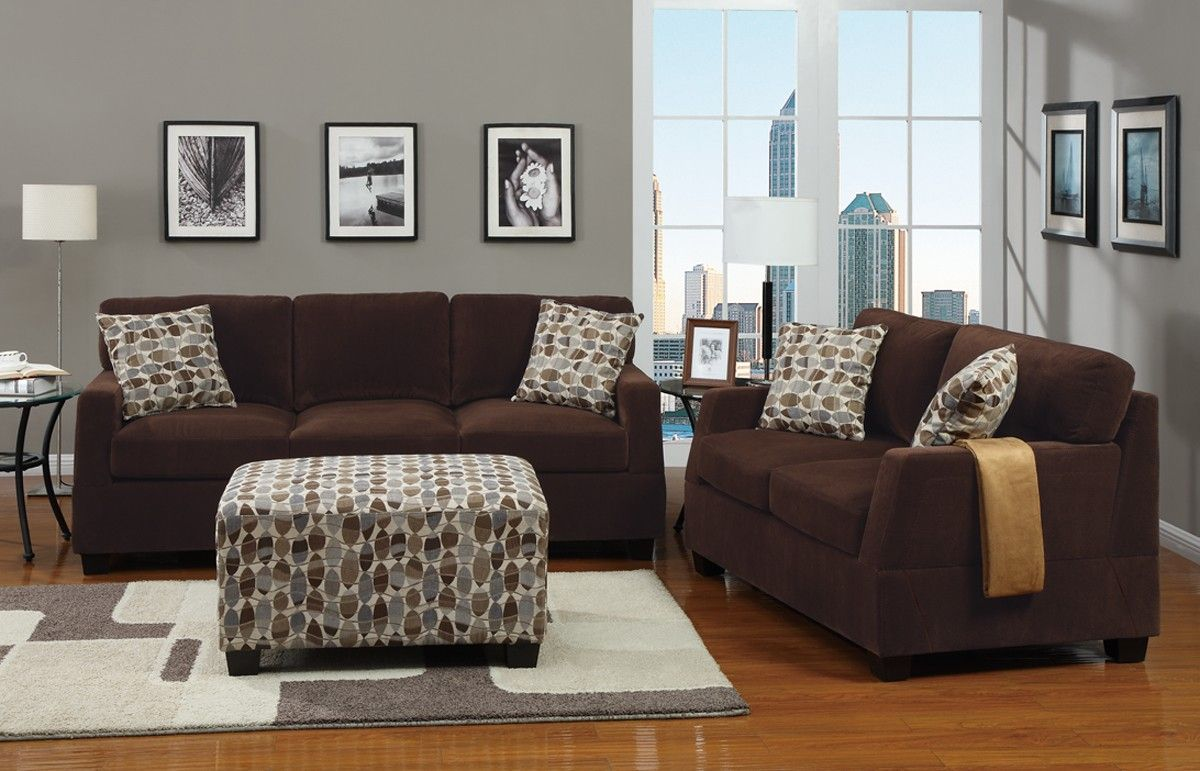 Chocolate Waffle Suede Sofa and Loveseat Set