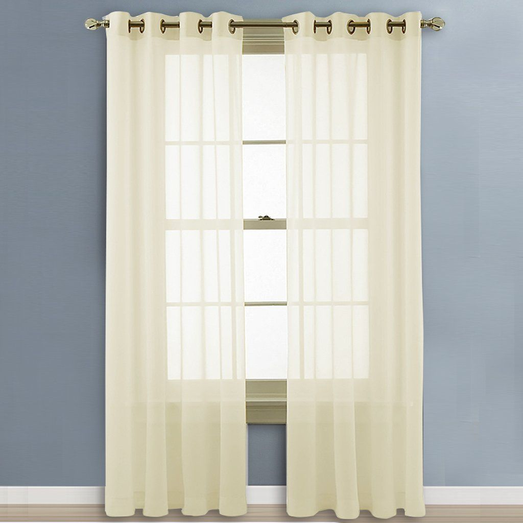 Nicetown Living Room Sheer Curtains Home Fashion Grommet Top Solid