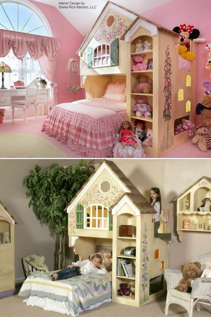 Dollhouse Loft Bed With Images Kid Beds Kids Bunk Beds Loft Bed